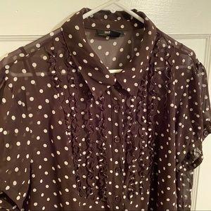 Sheer Polka Dot Shirt with Cami